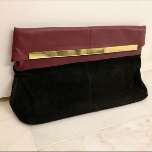 ASOS Black and Red Suede Golding Clutch — gold